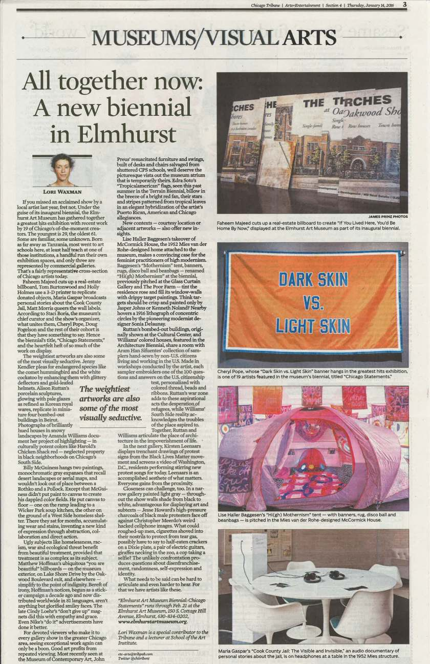Chicago Tribune_EAM Biennial feature